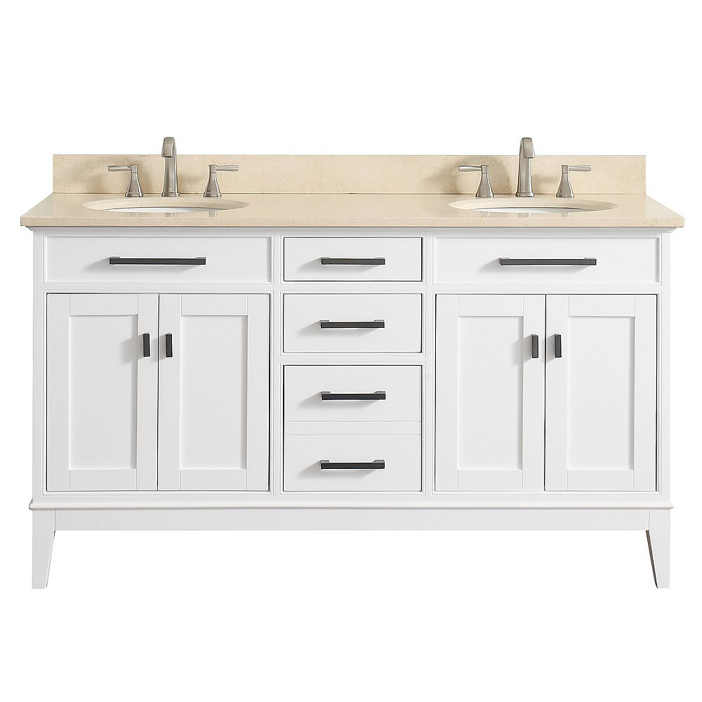 Avanity Meuble-lavabo double Madison blanc comptoir marbre beige Galala 61 po