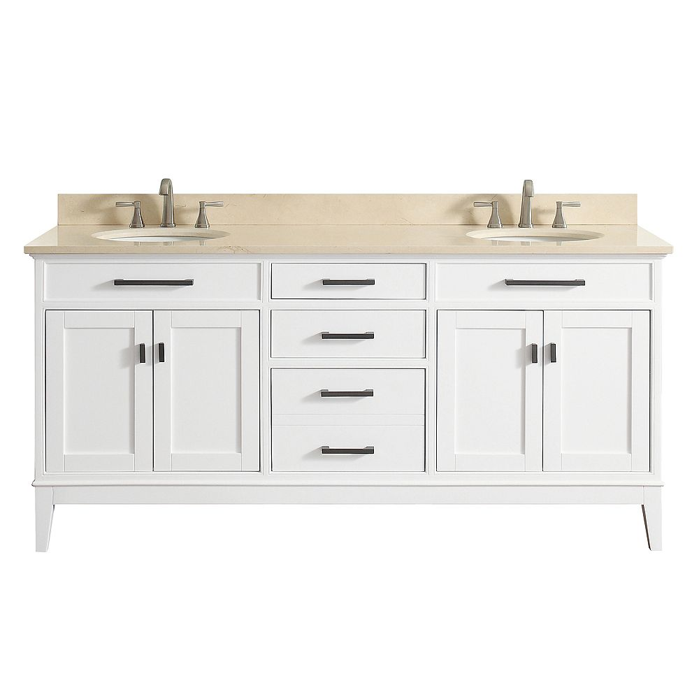 Avanity Madison 73 Inch Double Sink Vanity Combo In White ...