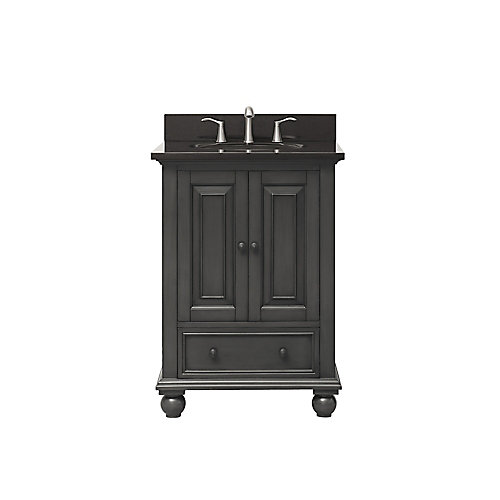 Thompson 25 Inch Vanity Combo In Charcoal Glaze Finish With Black Granite Top