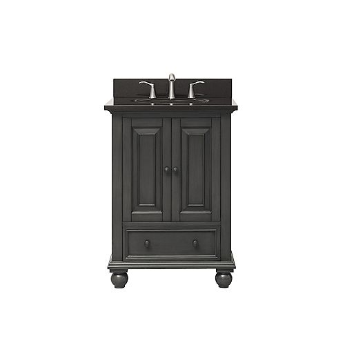 Avanity Thompson 25 Inch Vanity Combo In Charcoal Glaze Finish With Black Granite Top