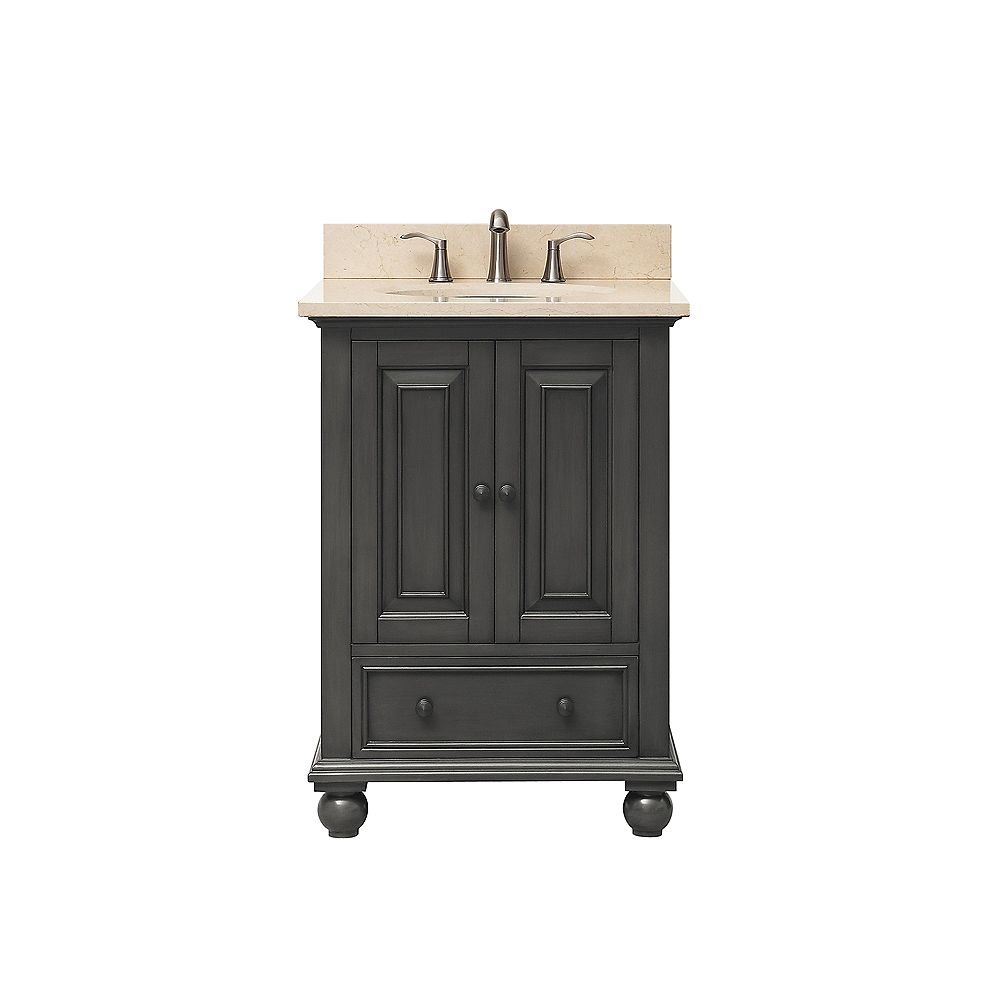 Avanity Thompson 25 Inch Vanity Combo In Charcoal Glaze Finish With Galala Beige Top
