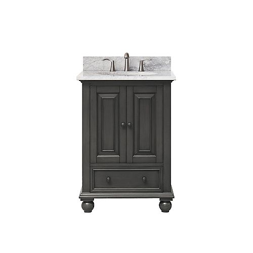Avanity Thompson 25 Inch Vanity Combo In Charcoal Glaze Finish With Carrera White Top