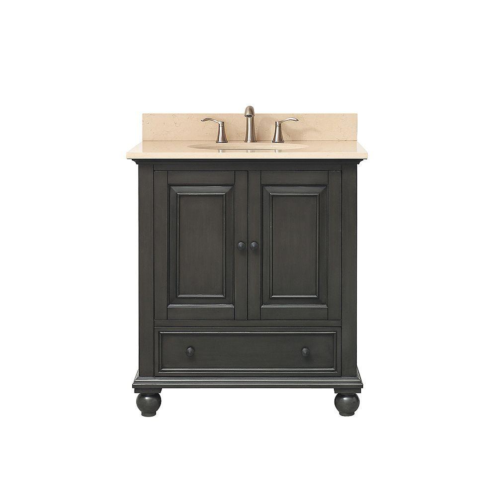Avanity Meuble-lavabo Thompson charbon satiné comptoir marbre beige Galala 31 po