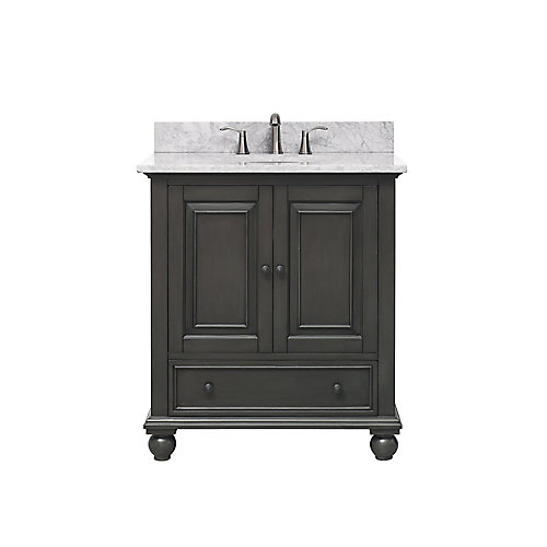 Thompson 31 Inch Vanity Combo In Charcoal Glaze Finish With Carrera White Top
