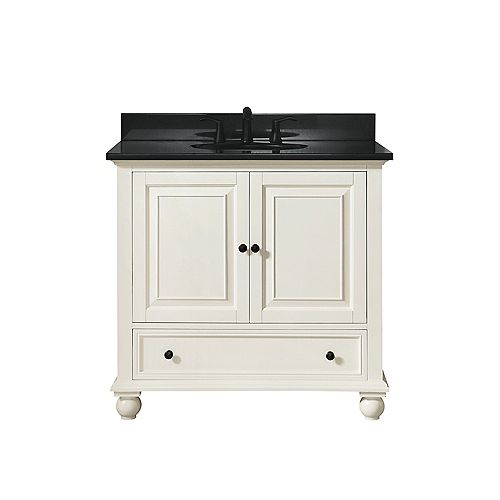 Avanity Thompson 37 Inch Vanity Combo In French White Finish With Black Granite Top