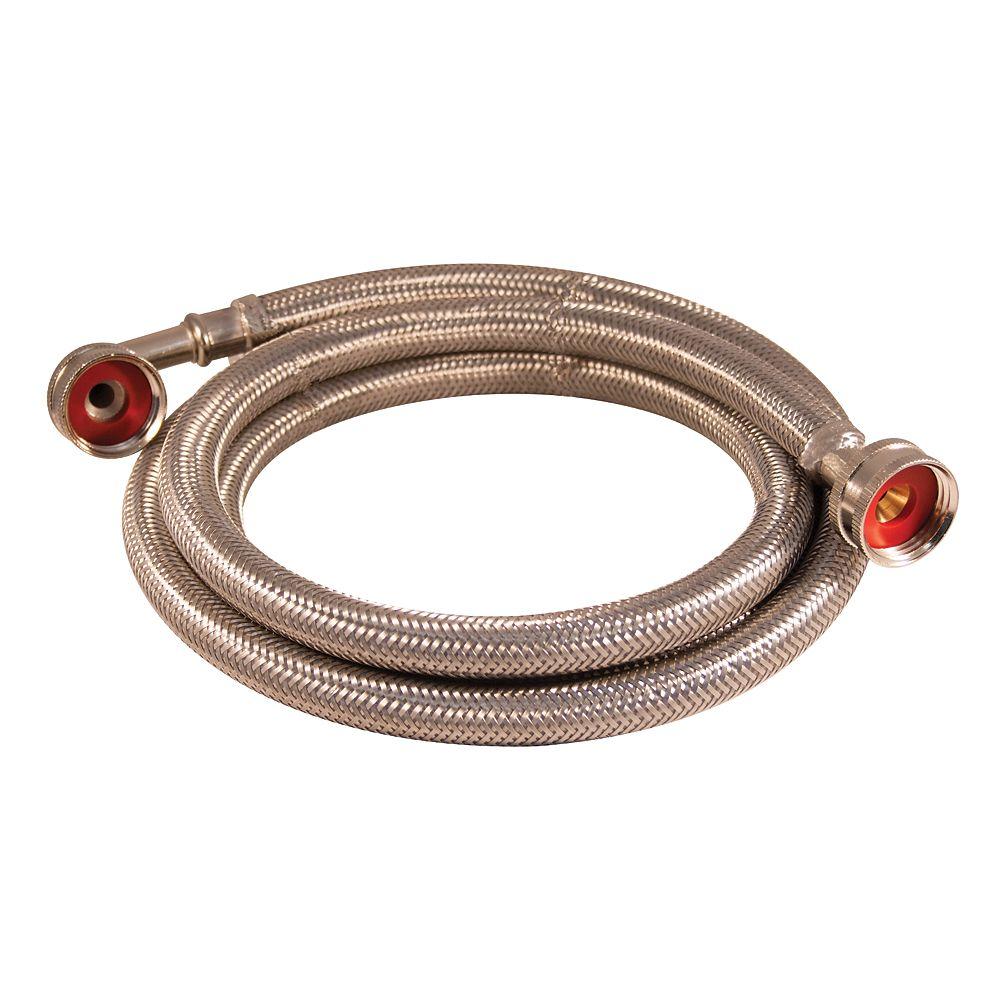 Aqua-Dynamic Flex Connector Ss 3/4i Hose X 3/4i Hose W/Elbow 72i Wash Machine Lead Free
