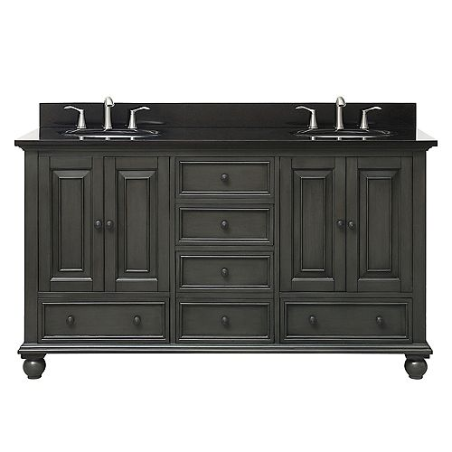 Avanity Thompson 61 Inch Double Sink Vanity Combo In Charcoal Glaze Finish With Black Granite Top