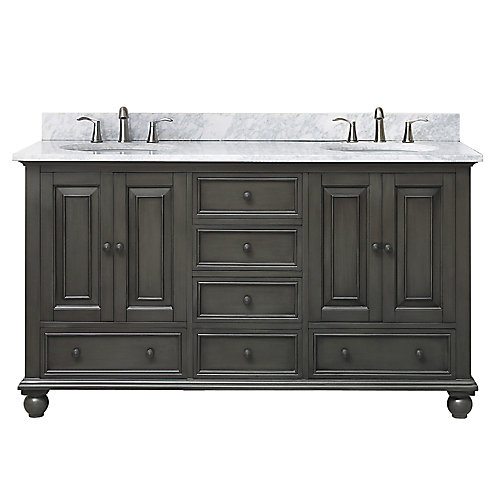 Thompson 61 Inch Double Sink Vanity Combo In Charcoal Glaze Finish With Carrera White Top