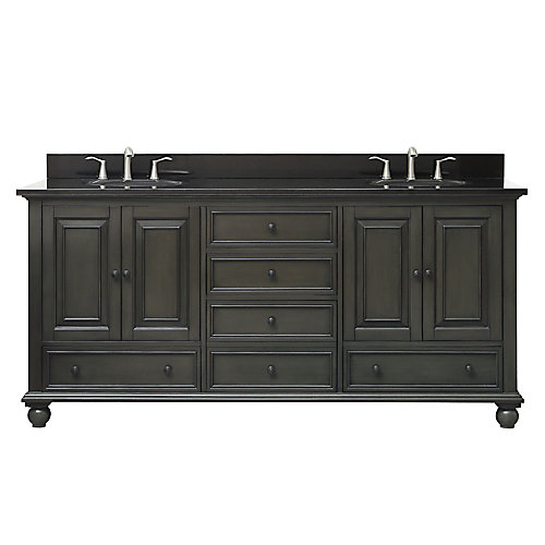 Thompson 73 Inch Double Sink Vanity Combo In Charcoal Glaze Finish With Black Granite Top