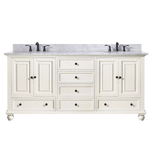 Thompson 73 Inch Double Sink Vanity Combo In French White Finish With Carrera White Top