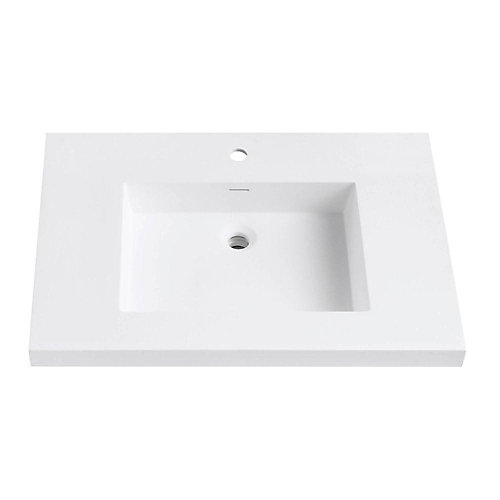 Versastone 31-Inch W Solid Vanity Top in Matte White with 22-Inch Deep Bowl