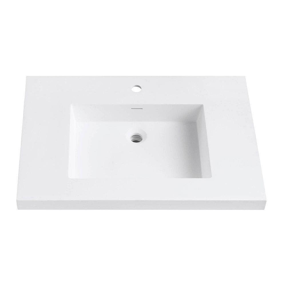 Avanity Versastone 31-Inch W Solid Vanity Top in Matte White with 22-Inch Deep Bowl