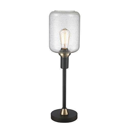 LAMPE DE TABLE NOIR AVEC ACCENT OR SATINE