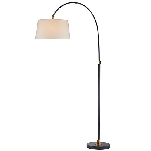 """LAMPE """"ARC"""" NOIR AVEC ABAT-JOUR BLANC"""