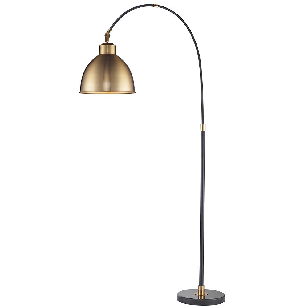 L2 Lighting Black Arc Lamp  With Brass Metal Shade