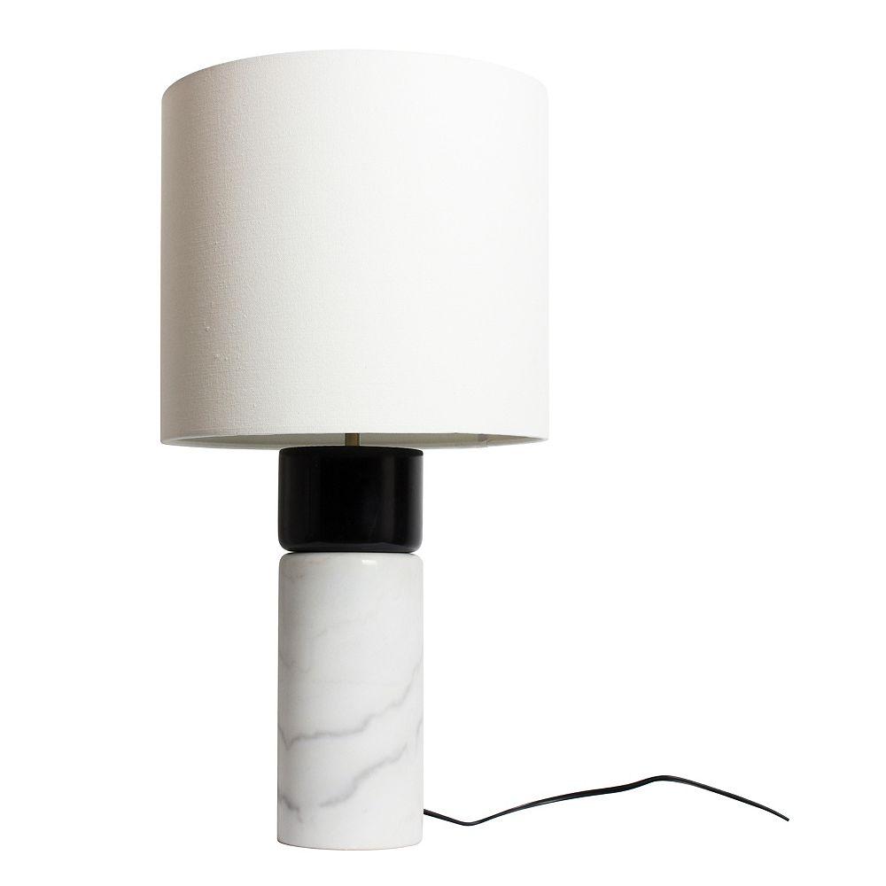 L2 Lighting LAMPE DE TABLE BASE EN MARBRE BLANC,  BOIS ET NOIR