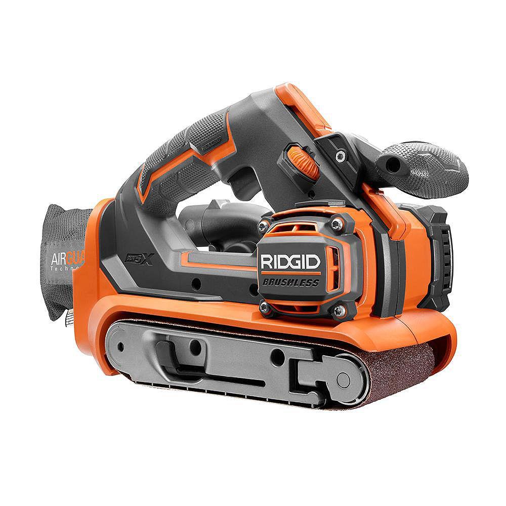 RIDGID 18V GEN5X Cordless Brushless 3-Inch x 18-Inch Belt Sander (Tool-Only) with Dust Bag