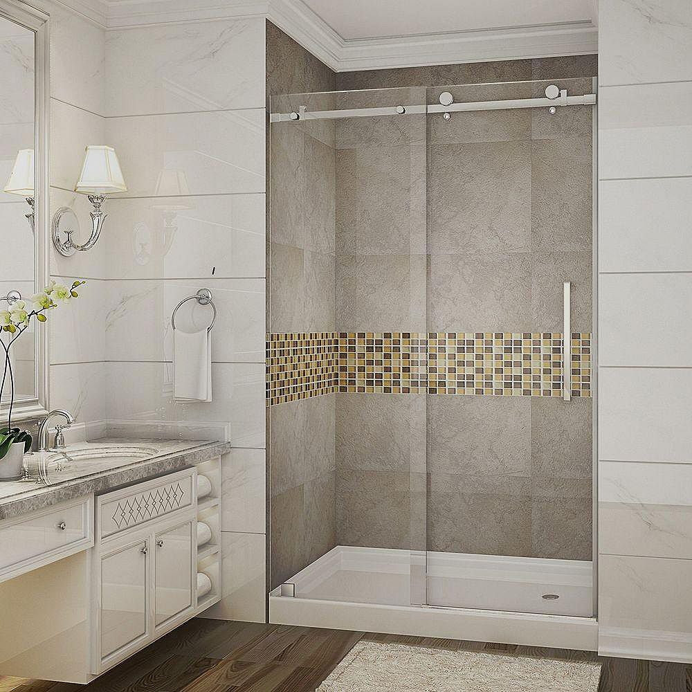 Aston Moselle 48 Inch X 77.5 Inch Completely Frameless Sliding Shower Door With Base, Right Drain In Stainless Steel