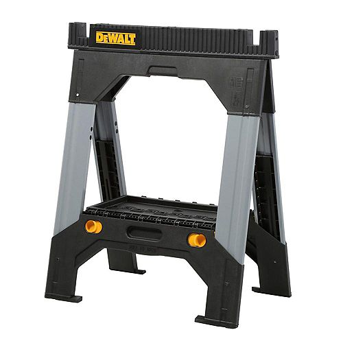 DEWALT 33-inch Folding Sawhorse with Adjustable Metal Legs