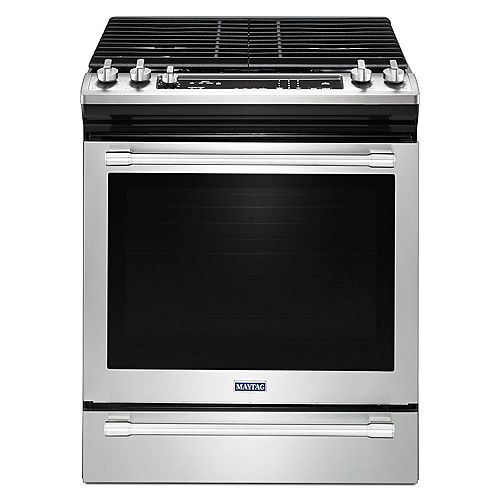 5.8 cu. ft. Slide-In Gas Range with Self-Cleaning Oven in Fingerprint Resistant Stainless Steel