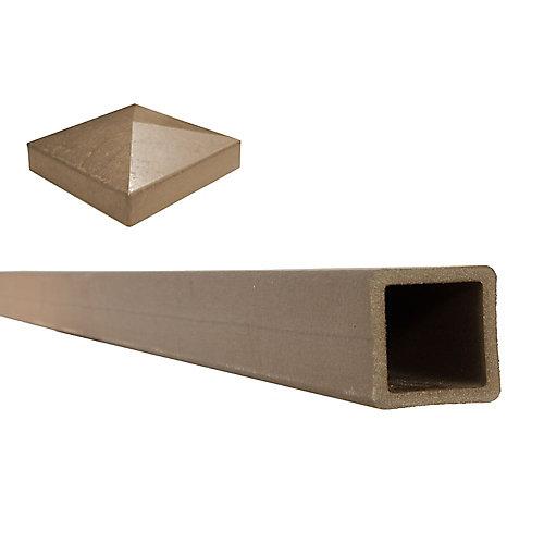 """Poteau de clôture composite couleur Saddle avec un capuchon de poteau plat  5"""" x 5"""" x 8'"""