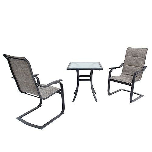 St. Lucia 3-Piece Padded Motion Sling Bistro Set