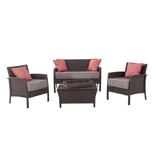 Round Lake Beach 4-Piece All-Weather Wicker Patio Conversation Set with Beige Cushions