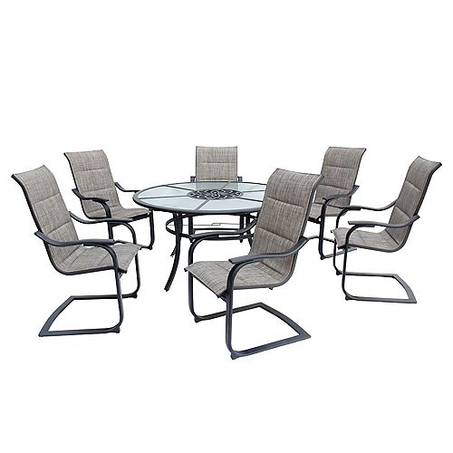 St. Lucia 7-Piece C-Spring Padded Sling Patio Dining Set