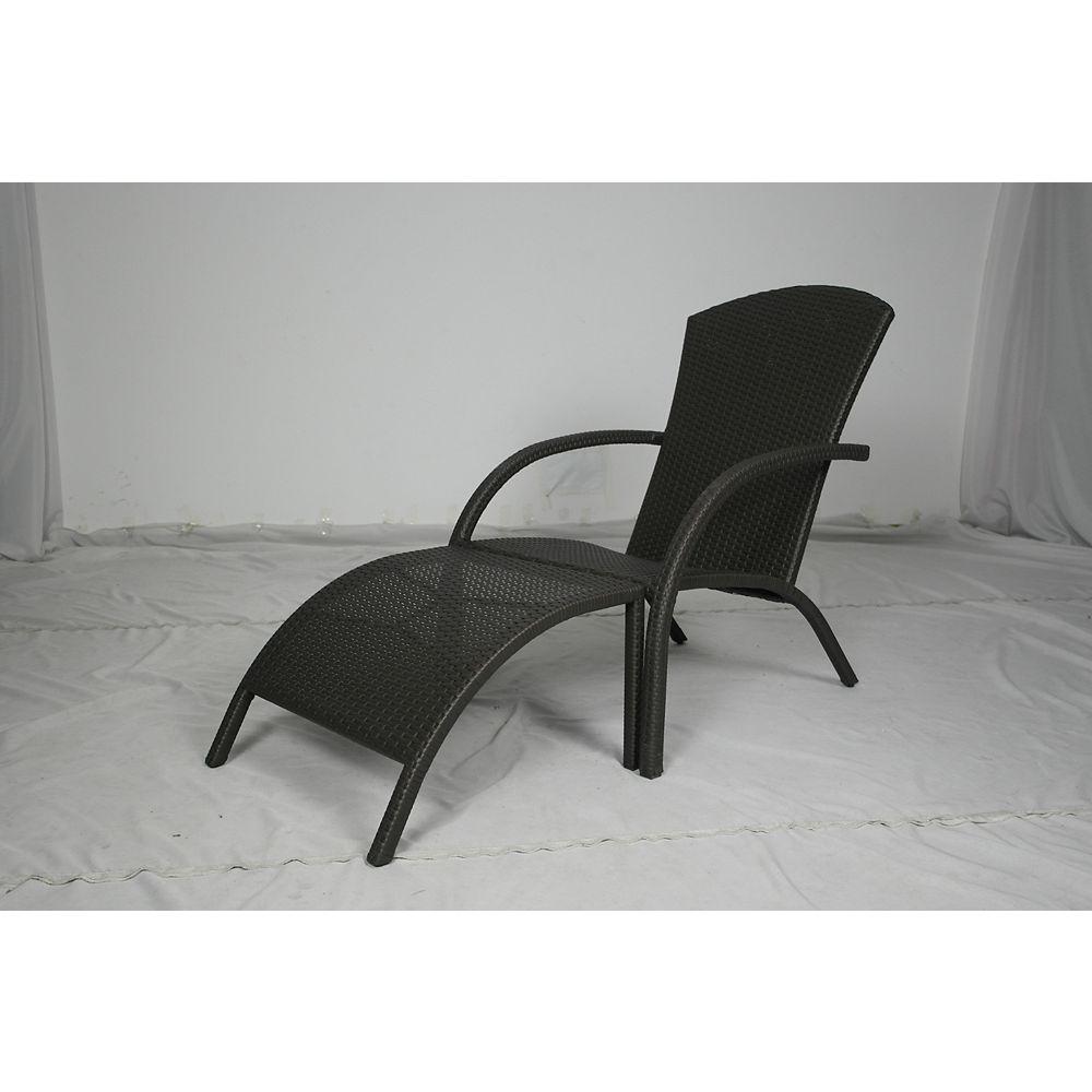 Hampton Bay Ocean City Wicker Adirondack Chair + Ottoman