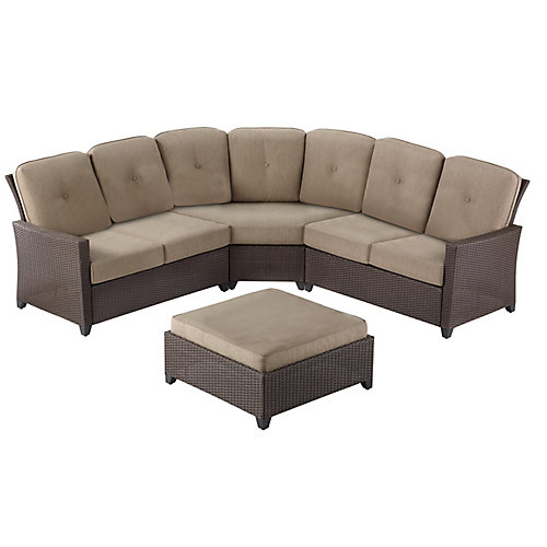 Tacana 4-Piece Wicker Patio Sectional Set with Beige Cushions