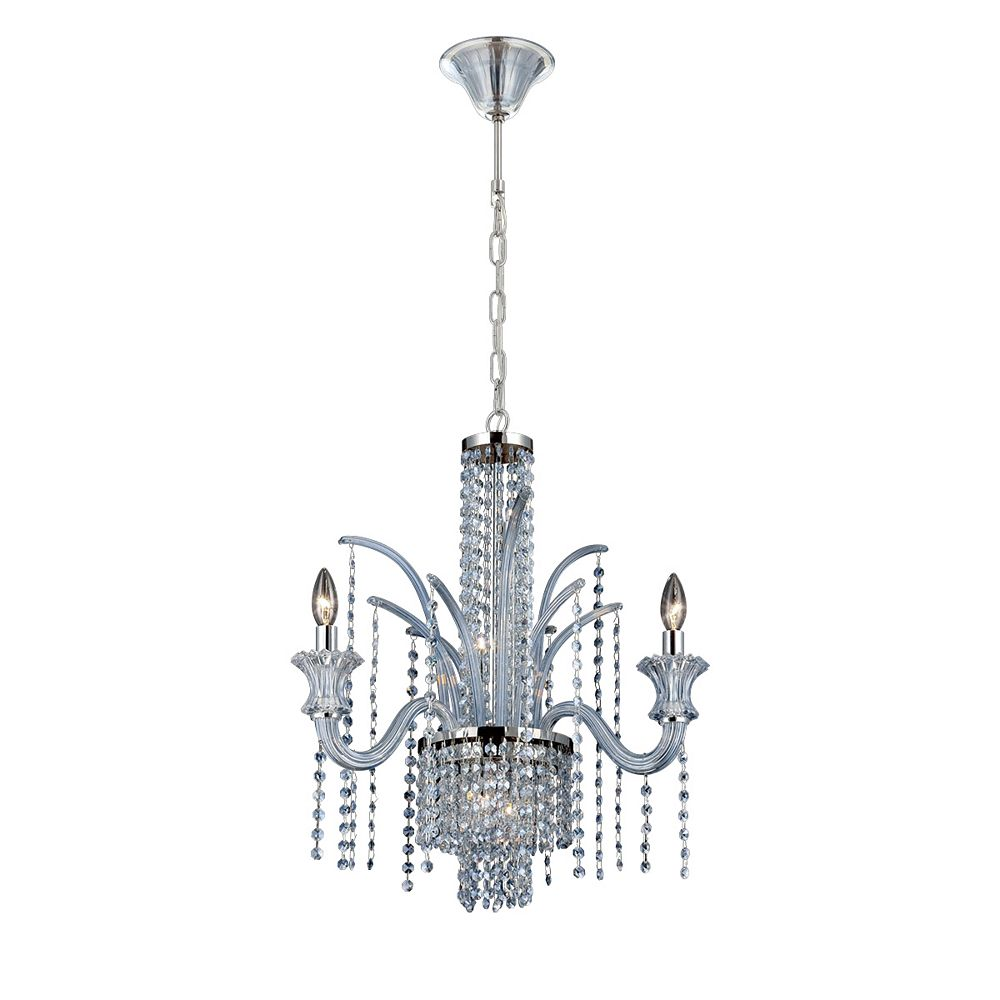 Eurofase Nava Collection, 7-Light Chrome and Ice Blue Chandelier
