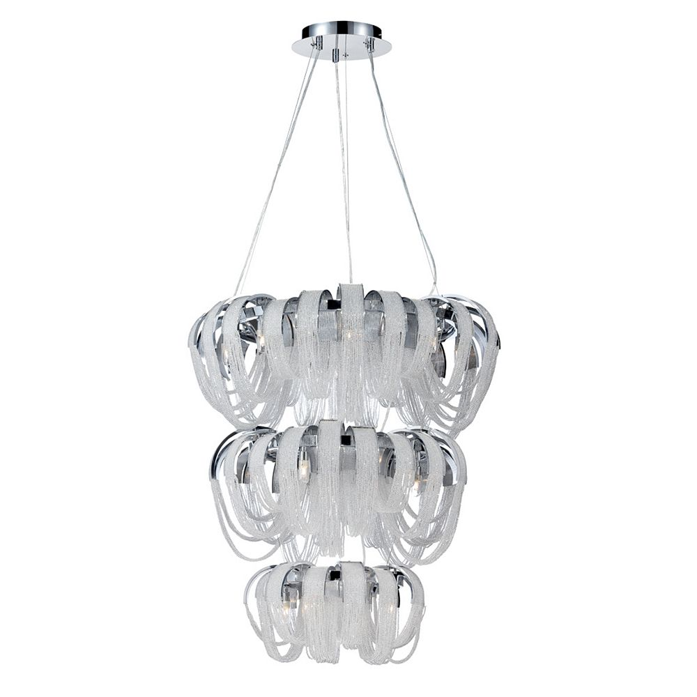 Eurofase Sage Collection, 17-Light Chrome and Clear Chandelier