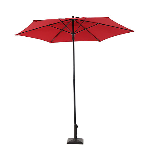 7.5 ft. Steel Push-Up Market Patio Umbrella in Red