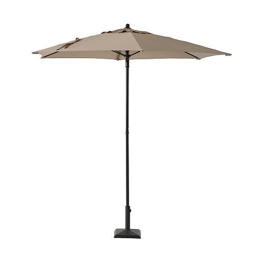 7.5 ft. Steel Push-Up Market Patio Umbrella in Tan