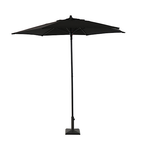 7.5 ft. Steel Push-Up Market Patio Umbrella in Black