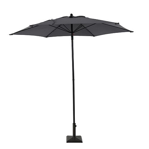 7.5 ft. Steel Push-Up Market Patio Umbrella in Grey