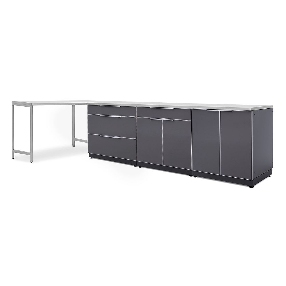 NewAge Products Inc. 5-Piece Aluminum Slate Outdoor Kitchen Cabinets with Prep Table and Cover