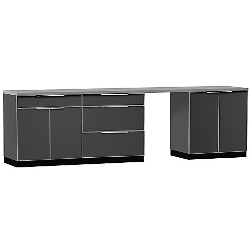 5-Piece Aluminum Slate Outdoor Kitchen Cabinets with Cover