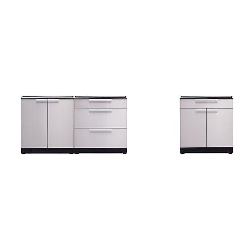 Ensemble d'armoires de 120po (L) x 36,5po (H) x 24po (P) en acier inoxydable pour cuisine extérieure