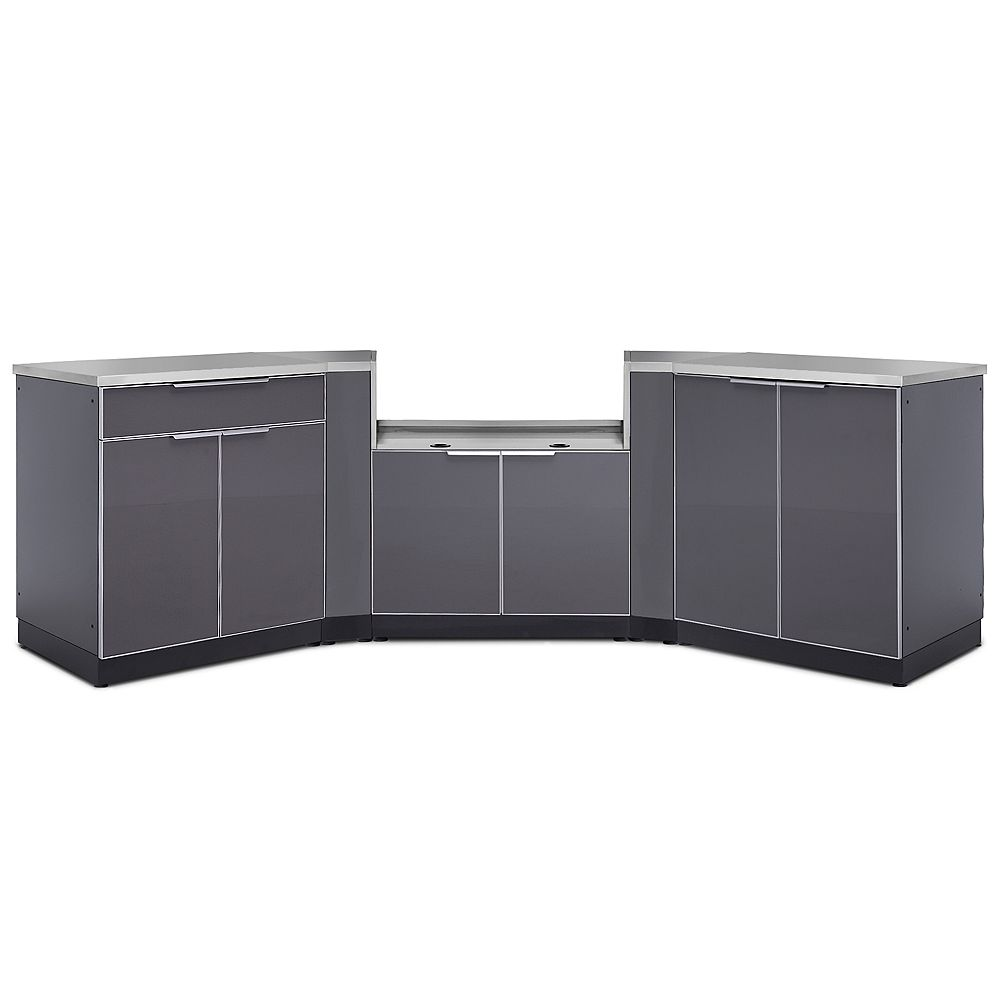 NewAge Products Inc. 5-Piece Aluminum Slate Outdoor Kitchen Cabinets with BBQ Cabinet and Cover
