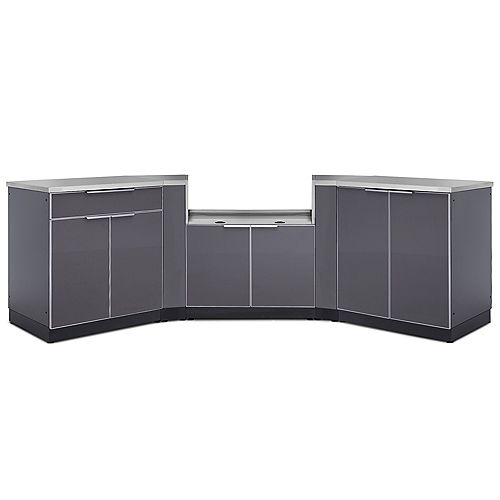 5-Piece Aluminum Slate Outdoor Kitchen Cabinets with BBQ Cabinet and Cover
