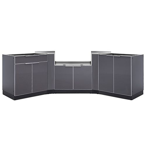 4-Piece Aluminum Slate Outdoor Kitchen Cabinets with BBQ Cabinet
