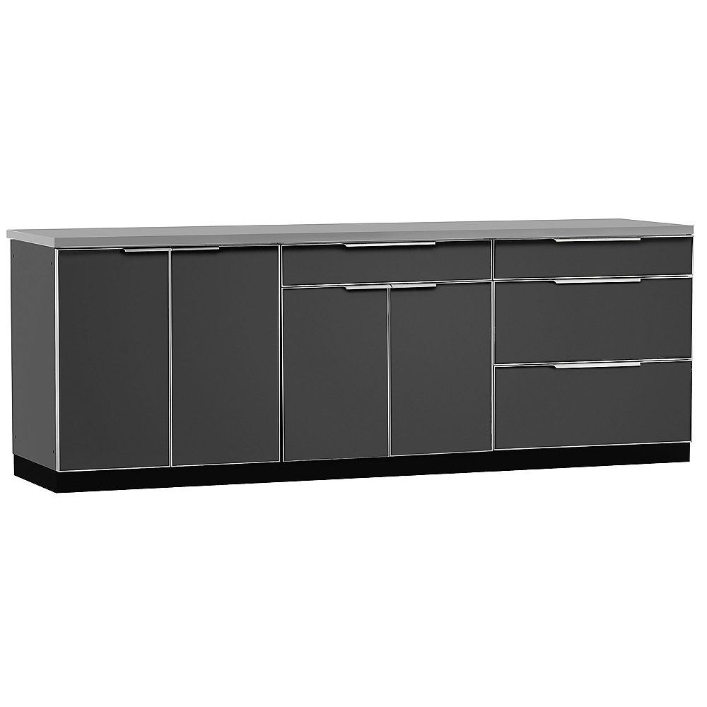 NewAge Products Inc. 4-Piece Aluminum Outdoor Kitchen in Slate with Cover