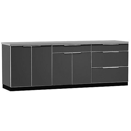 4-Piece Aluminum Outdoor Kitchen in Slate with Cover