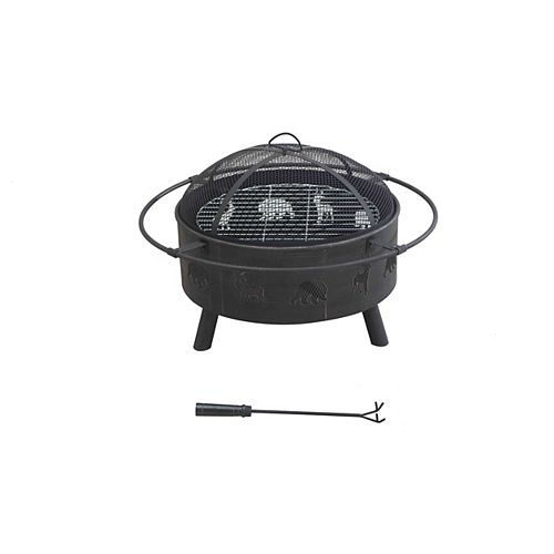 Canadiana Black Steel Outdoor Fire Pit