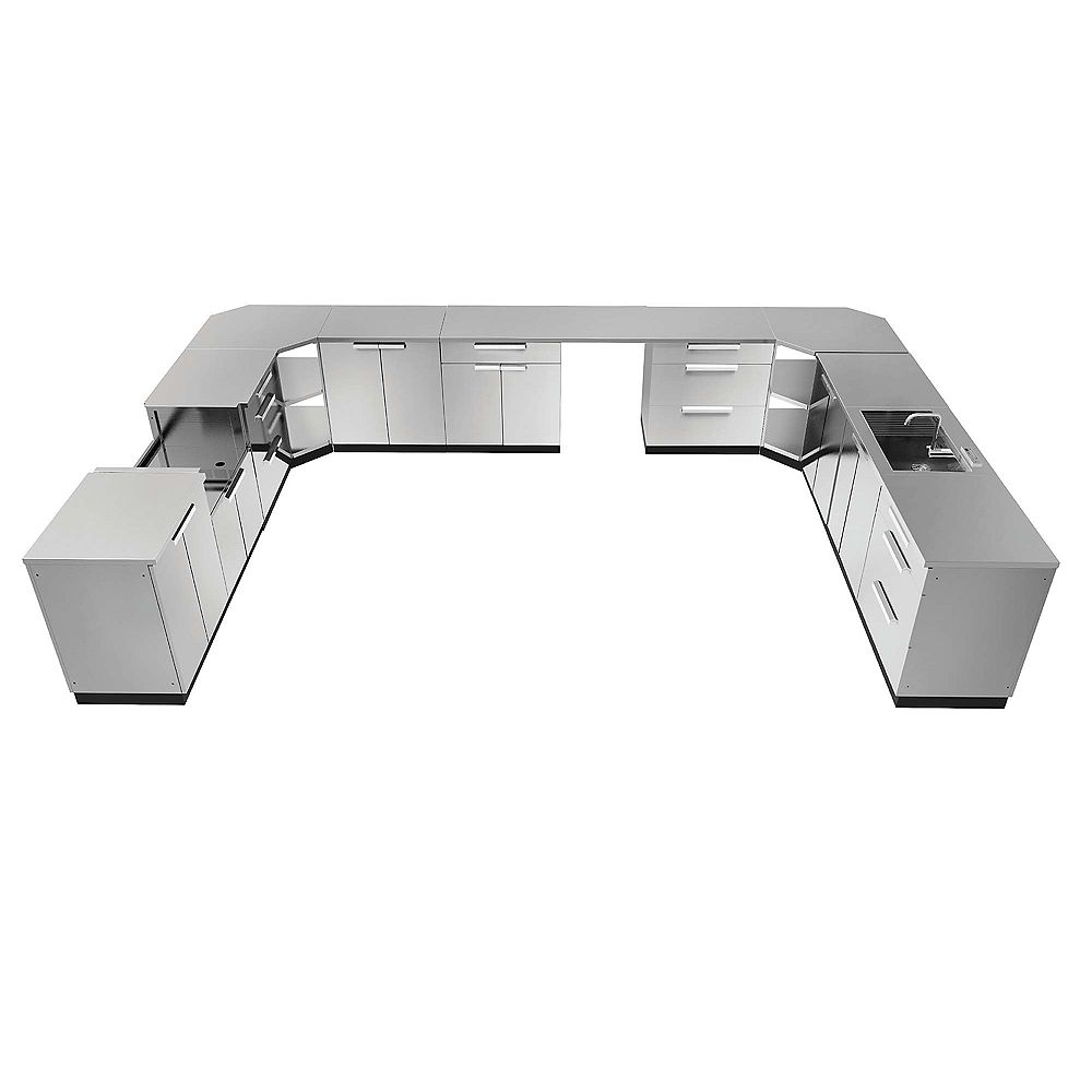 NewAge Products Inc. Classic 17-Piece Stainless Steel Outdoor Kitchen with Cover