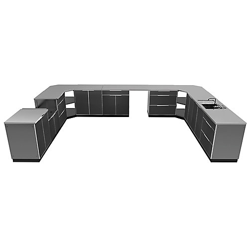 17-Piece Aluminum Outdoor Kitchen in Slate with Covers