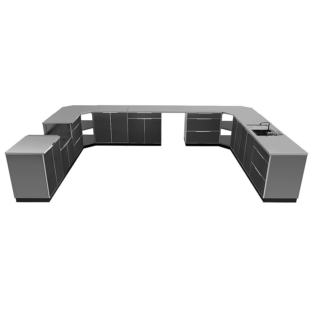 NewAge Products Inc. 17-Piece Aluminum Outdoor Kitchen in Slate with Covers