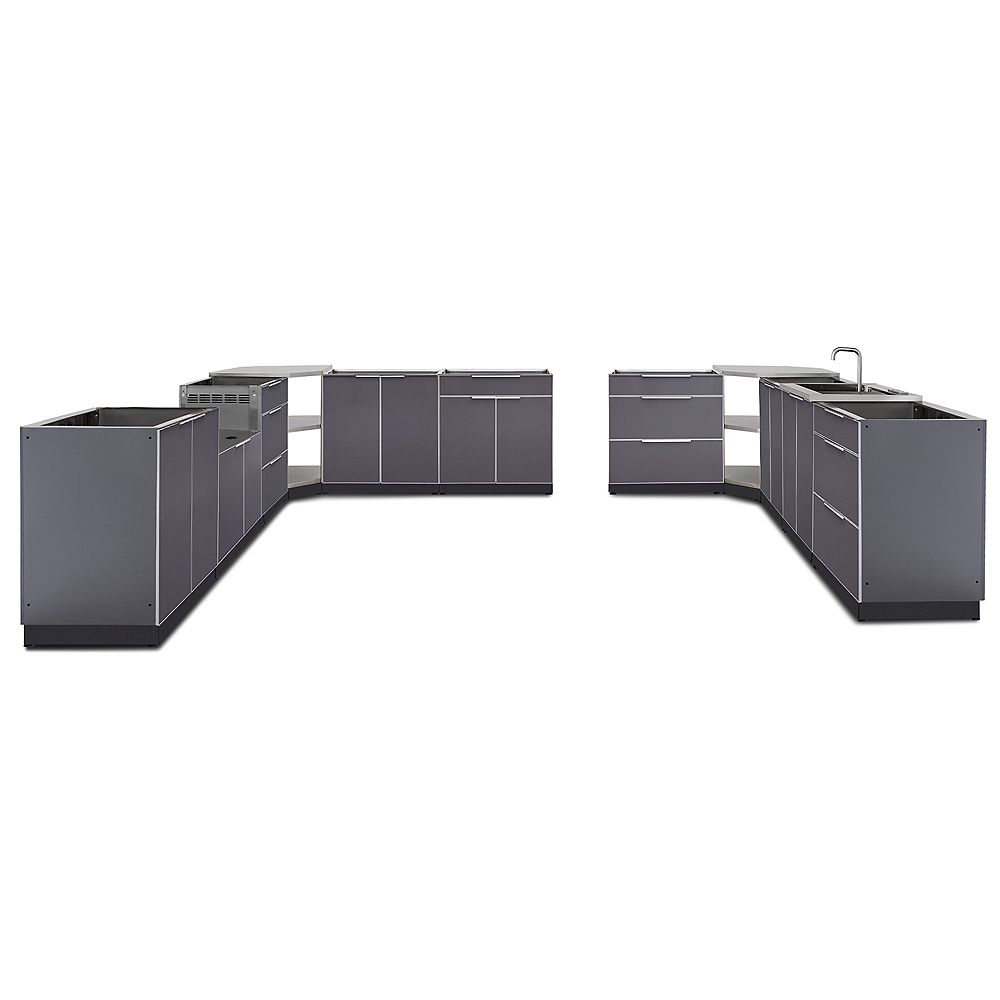 NewAge Products Inc. 24-inch D 11-Piece Aluminum Outdoor Kitchen in Slate