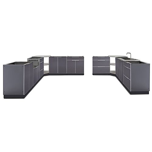 24-inch D 11-Piece Aluminum Outdoor Kitchen in Slate